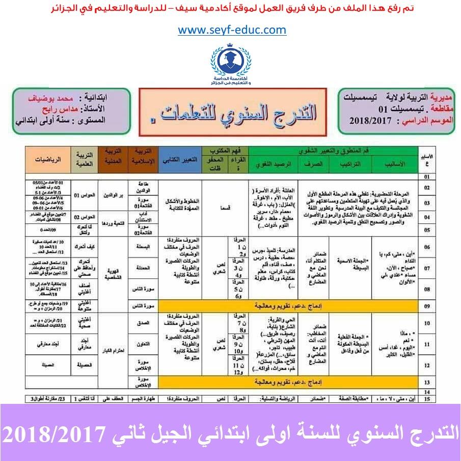 التدرج السنوي للسنة اولى ابتدائي الجيل الثاني 2018/2017