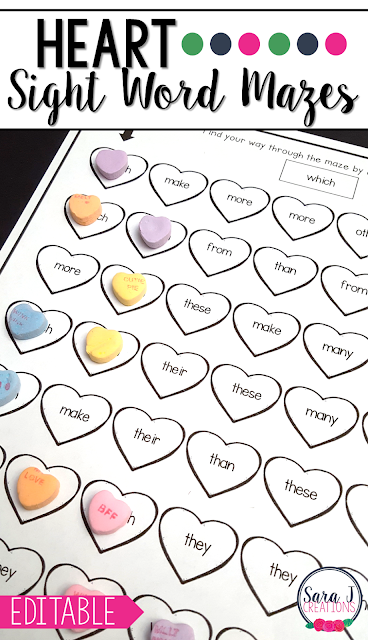 Editable sight word mazes with a heart theme are perfect for February or any month. Add your own words and the mazes will be automatically created for you!