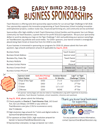 2018-19 Early Bird Sponsors