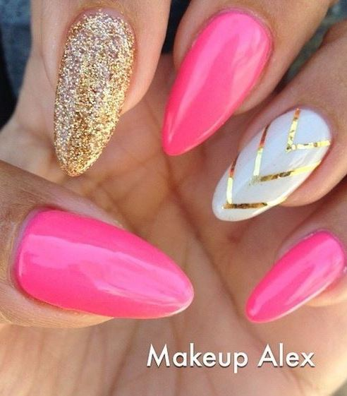 pink & gold glitter stiletto nails - bling, chevron