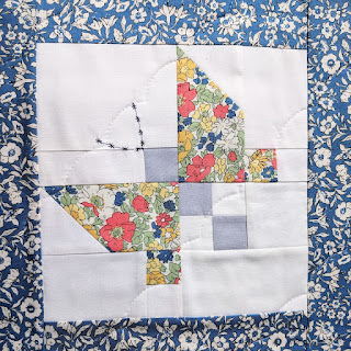 Liberty fabric patchwork butterfly quilt block