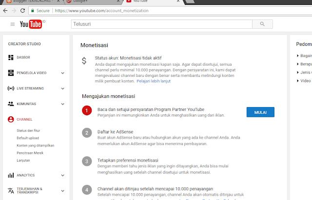 Syarat Daftar YouTube Adsense minimal harus 10ribu view