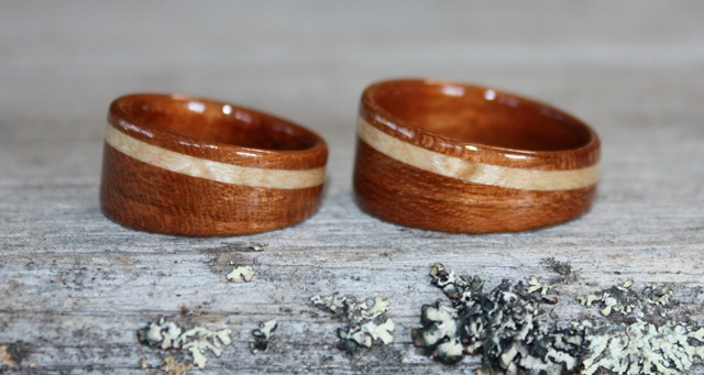 Wide tapered Cherry wood rings with birds eye maple inlays