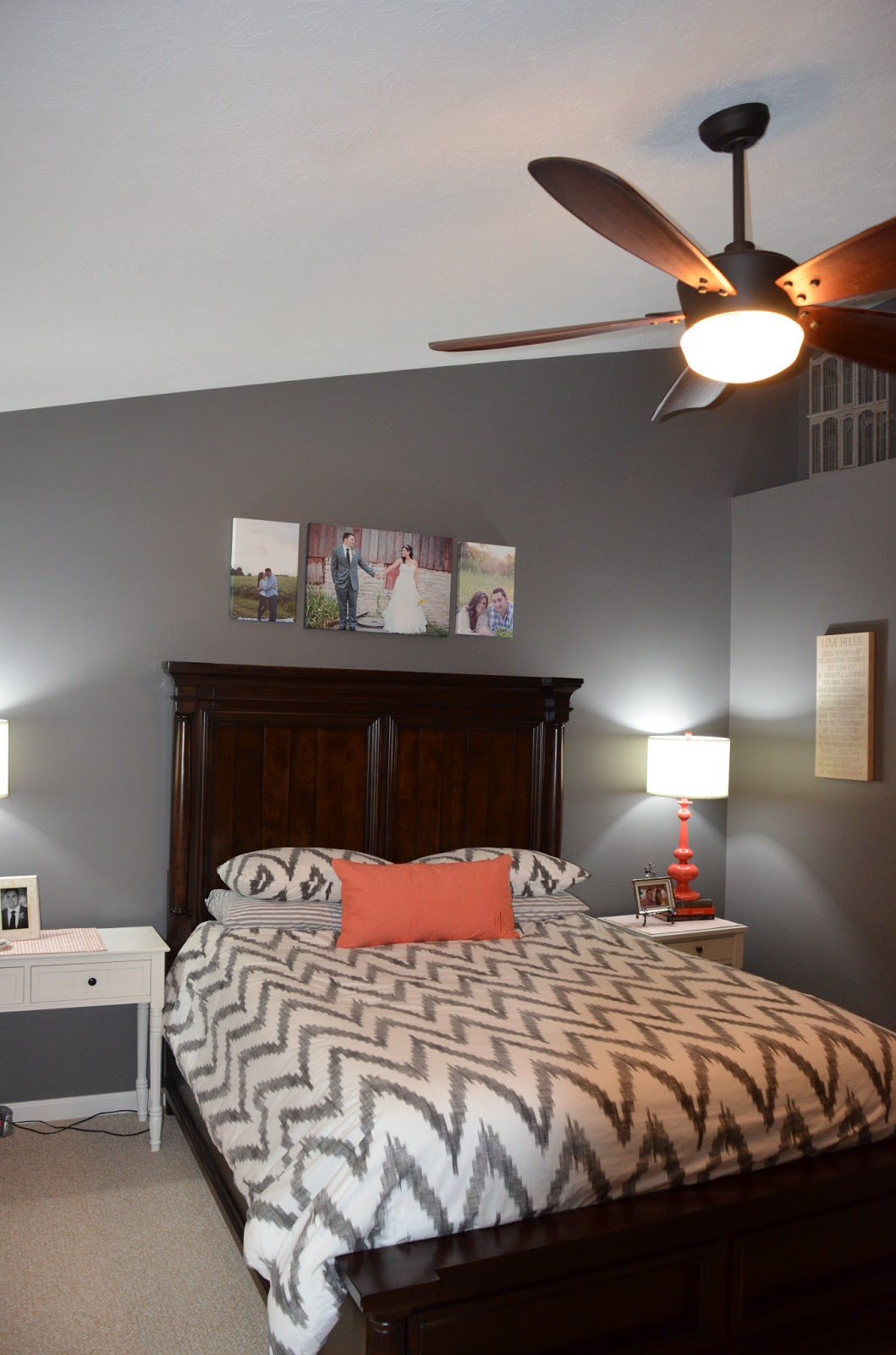 Grey Master Bedroom: {Jessica Stout Design}: Coral + Gray Master Bedroom {My Home}