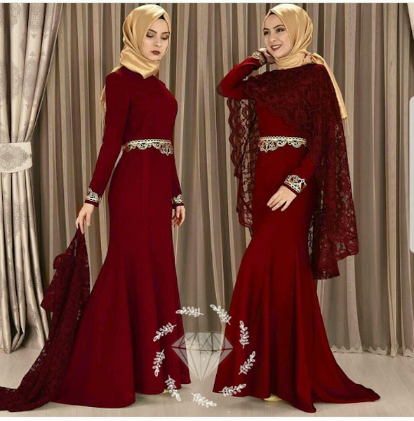 Gamis Pesta Baloteli Merah Maroon Hitam Eksklusif Baju Muslim Gamis