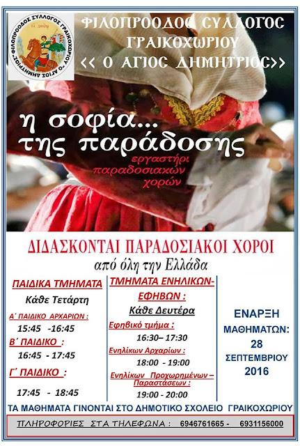 Εργαστήρι παραδοσιακών χορών από τον Φιλοπρόοδο Σύλλογο Γραικοχωρίου