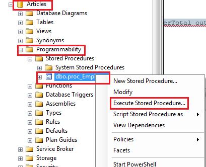 Execute stored procedure in management studio