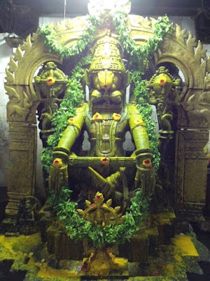 Sree Narasimha Murty idol decorated with Tulsi leafs