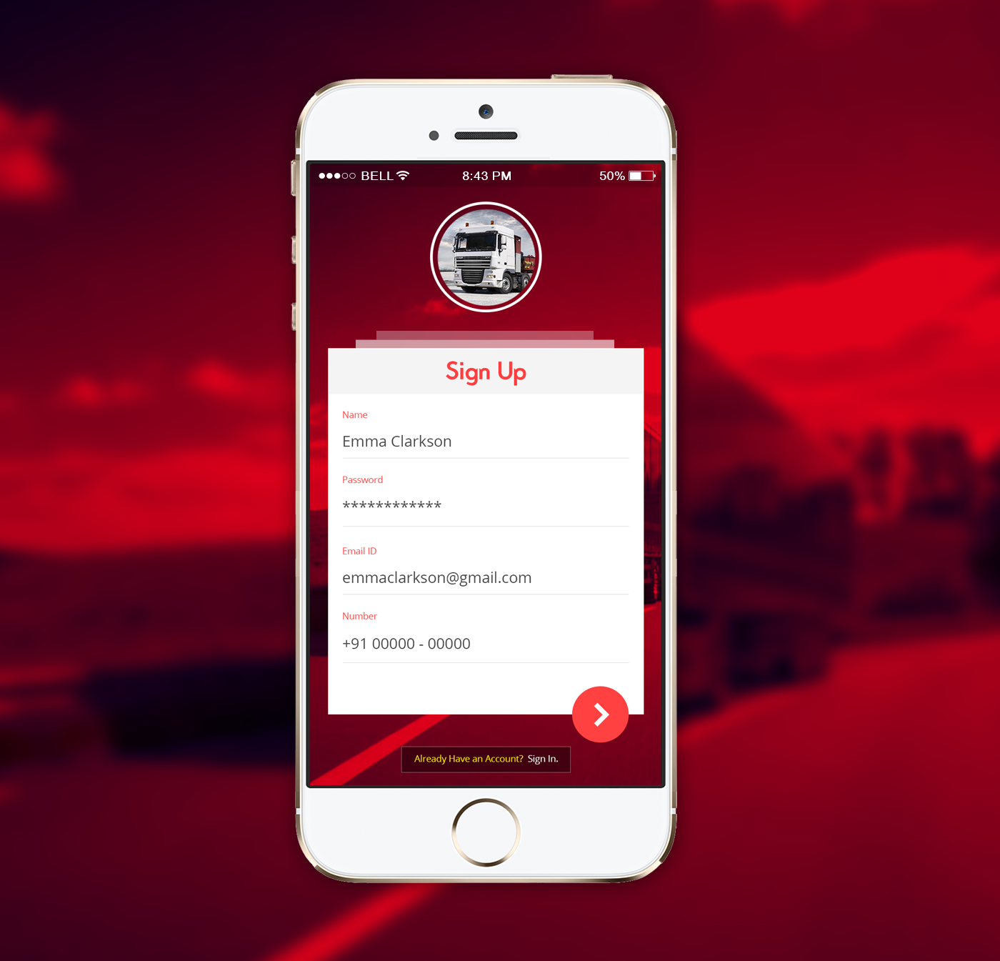 Truck App Sign Up UI