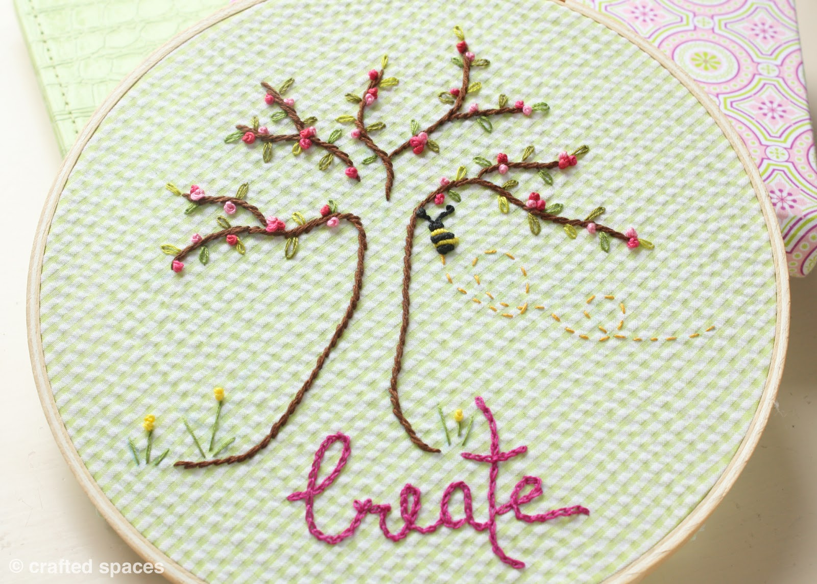 Crafted spaces embroidery hoop art