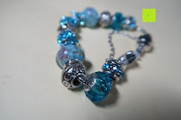 Glieder: A TE® Armband Charms Damen Kristall Blau Muranoglas Blume Glasperle Mädchen Geschenk Frauen #JW-B94