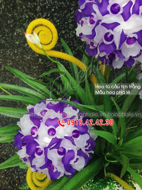 Mẫu hoa cẩm tú cầu tím trắng - Hoa pha lê