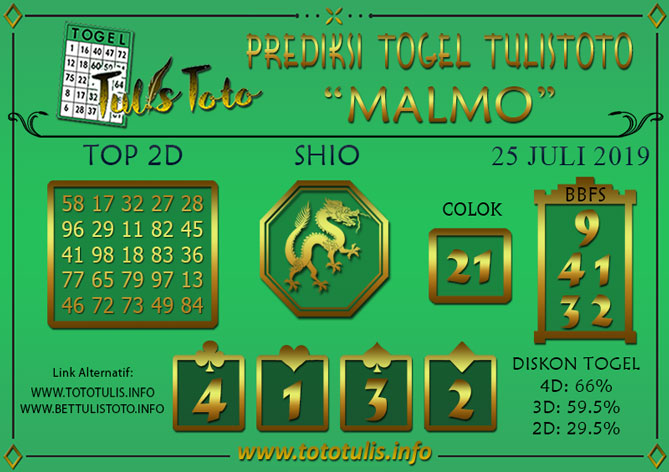 Prediksi Togel MALMO TULISTOTO 25 JULI 2019