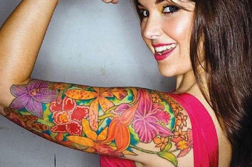 Flores coloridas Manga Tatuagem para Mulheres
