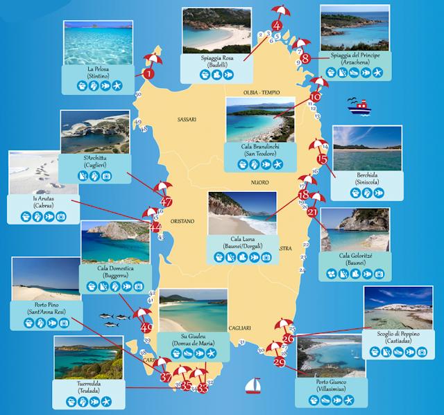 Mapa de praias da Sardenha