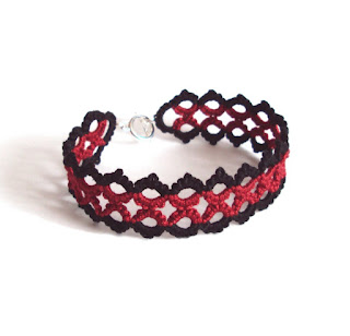 gothic red black tatted bracelet