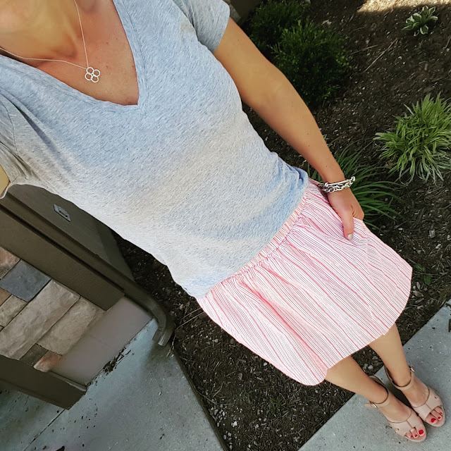 Gap Fit V-Neck Tee // Gap Striped Linen Skirt - major sale! // Ivanka Trump Wedges (similar) // ILY Couture Bracelet