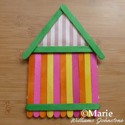 yellow, orange, pink, green beach hut hanging craft