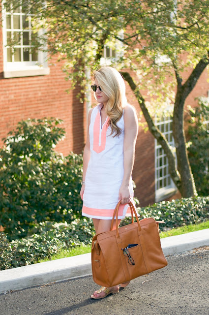 linen shift dress tunic and monogrammed leather weekender bag