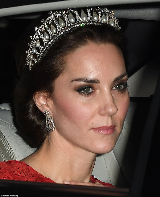 Kate Middleton dazzles in Diana's pearl and diamond tiara at the 2016 Diplomatic Reception