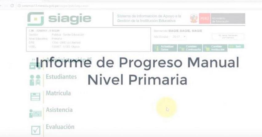 SIAGIE: Informe de Progreso Manual Primaria [VIDEO] MINEDU - www.minedu.gob.pe