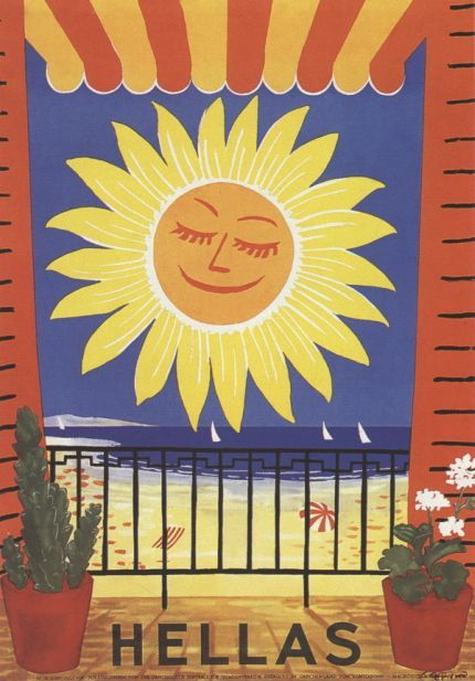 Vintage travel poster Greece 1950