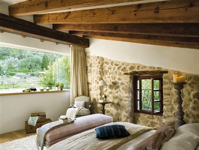 Boiserie c 15 meravigliose camere da letto con la pietra - Parete in pietra camera da letto ...
