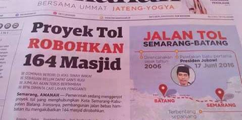 Tanpa Anda Sadari, Proyek Tol di Jawa Tengah Robohkan 164 Masjid