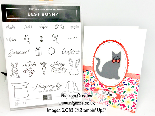 #stampinforall Design Team Challenge Using Stampin' Up!® Cat Punch & Best Bunny Nigezza Creates