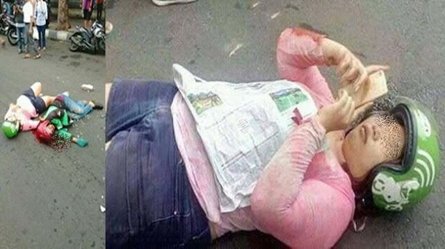 Wanita Terkapar Sambil Pegang Hp Usai Alami Kecelakaan Bikin Netizen Berdebat. Kira-kira Apa yang Salah ya!