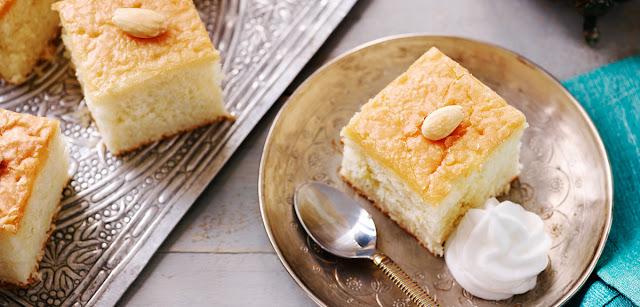 Almond and Rose Basbousa Style Cake