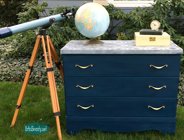 CUSTOM BLUE GEOMETRIC STENCILLED TOP DRESSER MAKEOVER BEFORE AND AFTER DIY