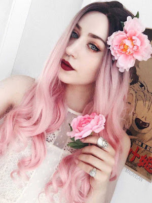 Black to Pastel Pink Ombre Long wavy Synthetic Wigs