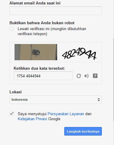 isi data diri gmail