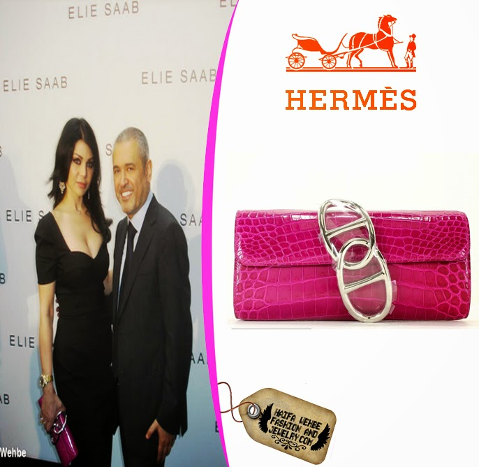 f5f8dca95a Haifa Wehbe carrying Rose Scheherazade Egee clutch by Hermes
