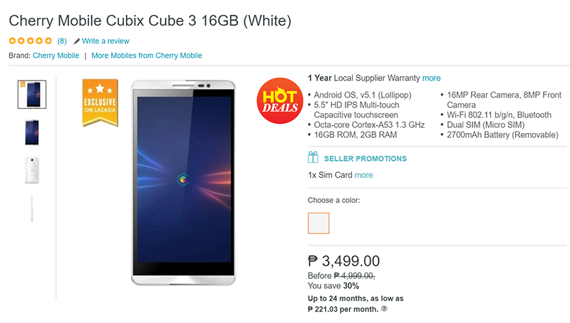 Cherry Mobile Cubix 3 at 3,499 Pesos only!