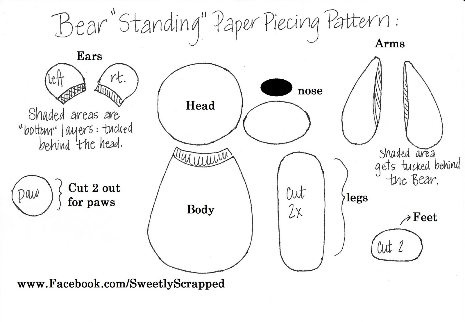 Sweetly Scrapped Bear Paper Piecing Pattern For You