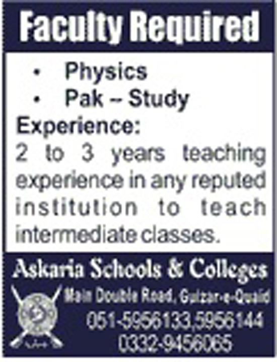 Faculty Staff Required In Askaria Schools And College  Aug 2017