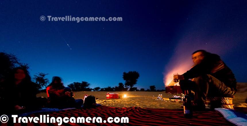 Meteor Shower in Churu Desert of Rajasthan State in India