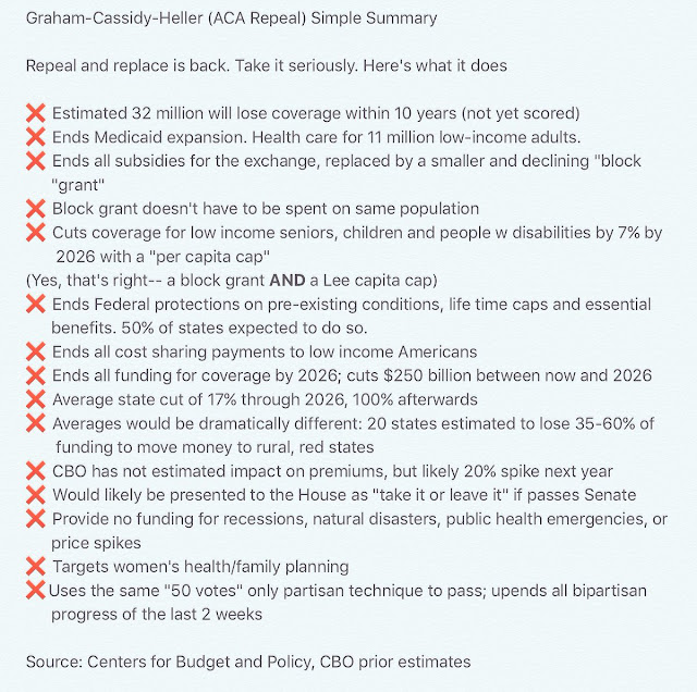 "Graham-Cassidy-Heller (ACA Repeal) Simple Summary - Repeal and Replace is back. Take it seriously. Here's what it does: *Estimated 32 million will lose coverage within 10 years (not yet scored) *Ends Medicaid expansion. Health care for 11 million low-income adults. *Ends all subsidies for the exchange, replaced by a smaller and declining ""block grant"" *Block grant doesn't have to be spent on same population *Cuts coverage for low income seniors, children and people w disabilities by 7% by 2026 with a ""per capita cap"" (Yes, that's right -- a block grant AND a Lee capita cap) *Ends Federal protections on pre-existing conditions, life time caps and essential benefits. 50% of states expected to do so. *Ends all cost sharing payments to low income Americans *Ends all funding for coverage by 2026; 100% afterwards *Averages would be dramatically different: 20 states estimated to lose 35-60% of funding to move money to rural, red states *CBO has not estimated impact on premiums, but likely 20% spike next year *Would likely be presented to the House as ""take it or leave it"" if passes Senate *Provide no funding for recessions, natural disasters, public health emergencies, or price spikes *Targets women's health/family planning *Uses the same ""50 votes"" only partisan technique to pass; upends all bipartisan progress of the last two weeks - Source: Centers for Budget and Policy, prior estimates"