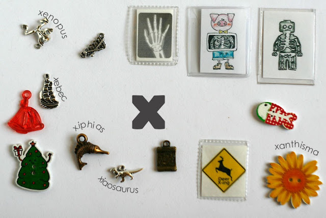 TomToy Individual letter X I spy trinkets for alphabet, Miniature abc objects, Montessori alphabet. Sorting toddler activities