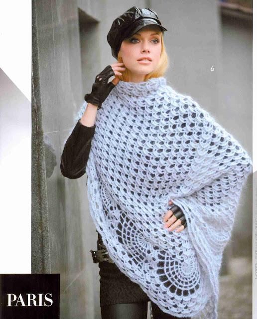Patrón #1325: Poncho a Crochet