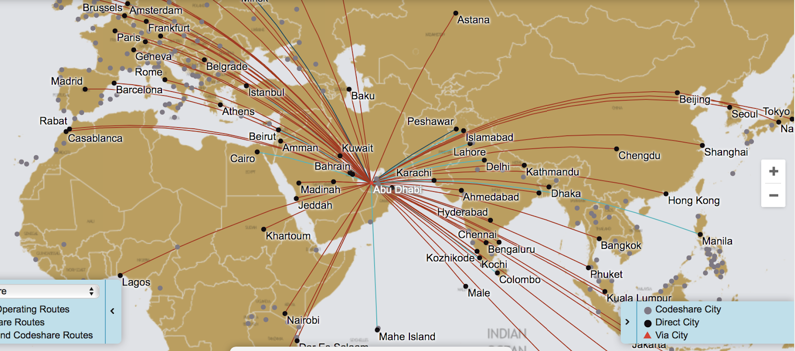 etihad s route map from its website