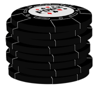 solid black poker chip stack