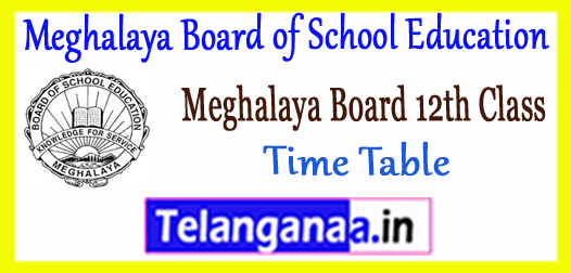 MBOSE HSSLC Meghalaya Board of School Education 12th Commerce Time Table 2019 Admit Card Result