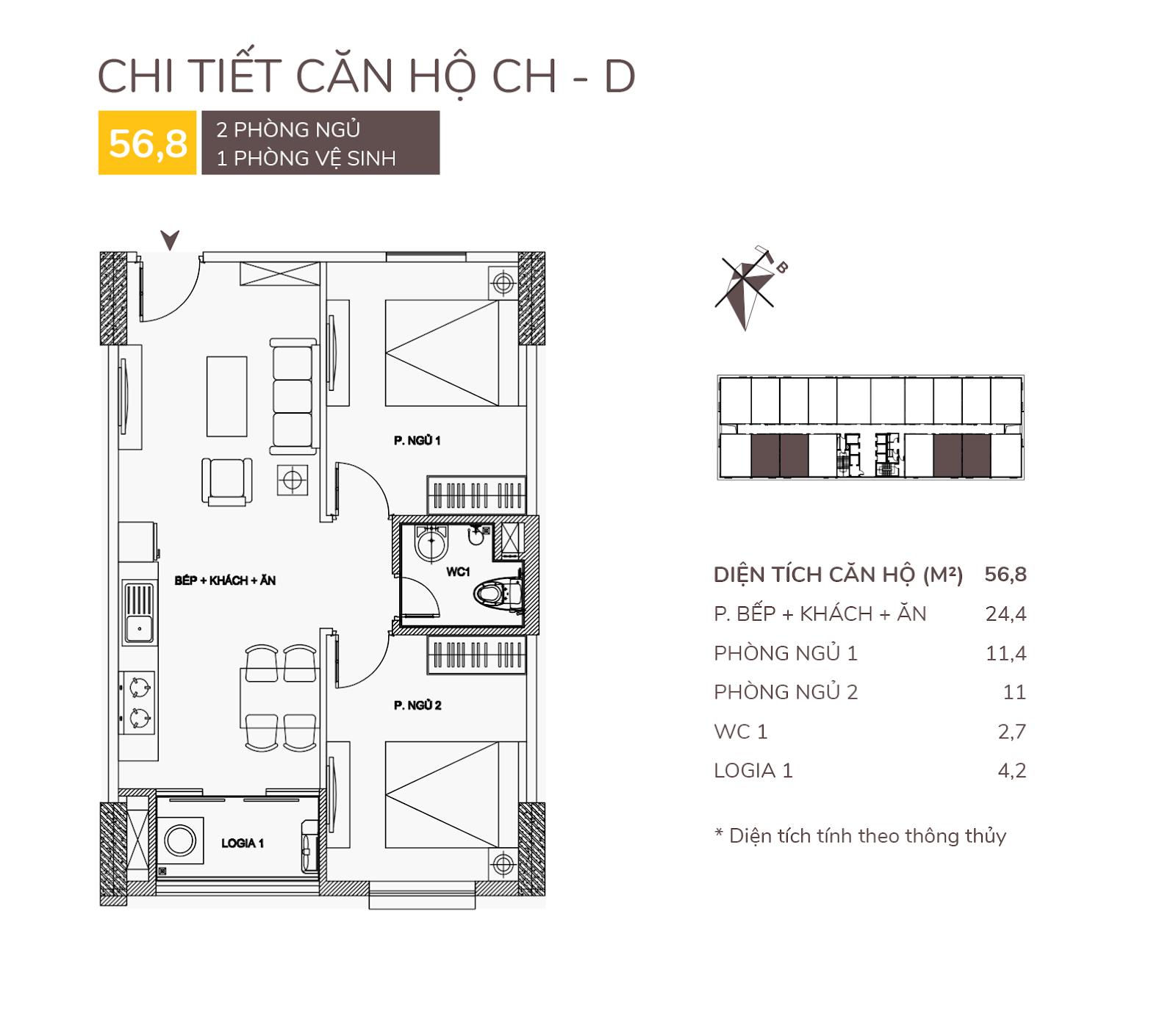 Căn hộ D - 56,8m2 chung cư AQH Riverside.