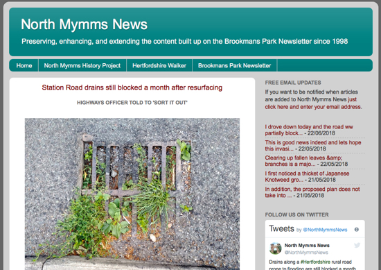 Screen grab of the North Mymms News site