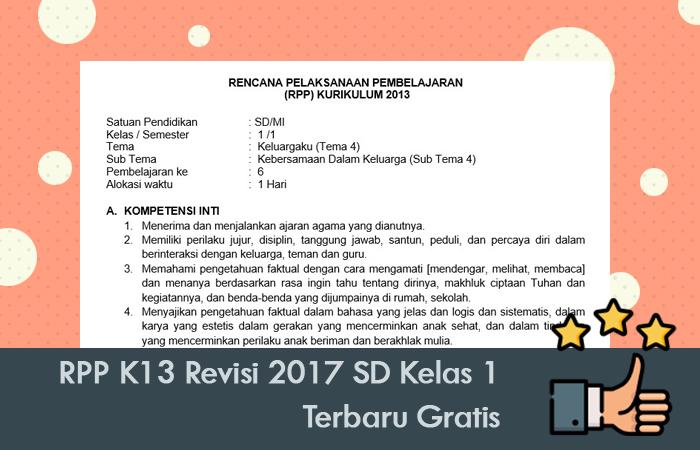 RPP K13 Revisi 2017 SD Kelas 1 Terbaru Gratis