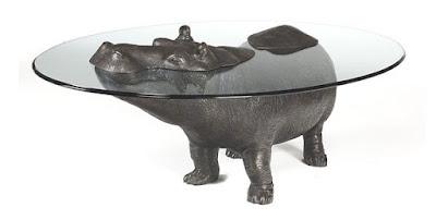Diseño industrial de mesa de hipopotamo