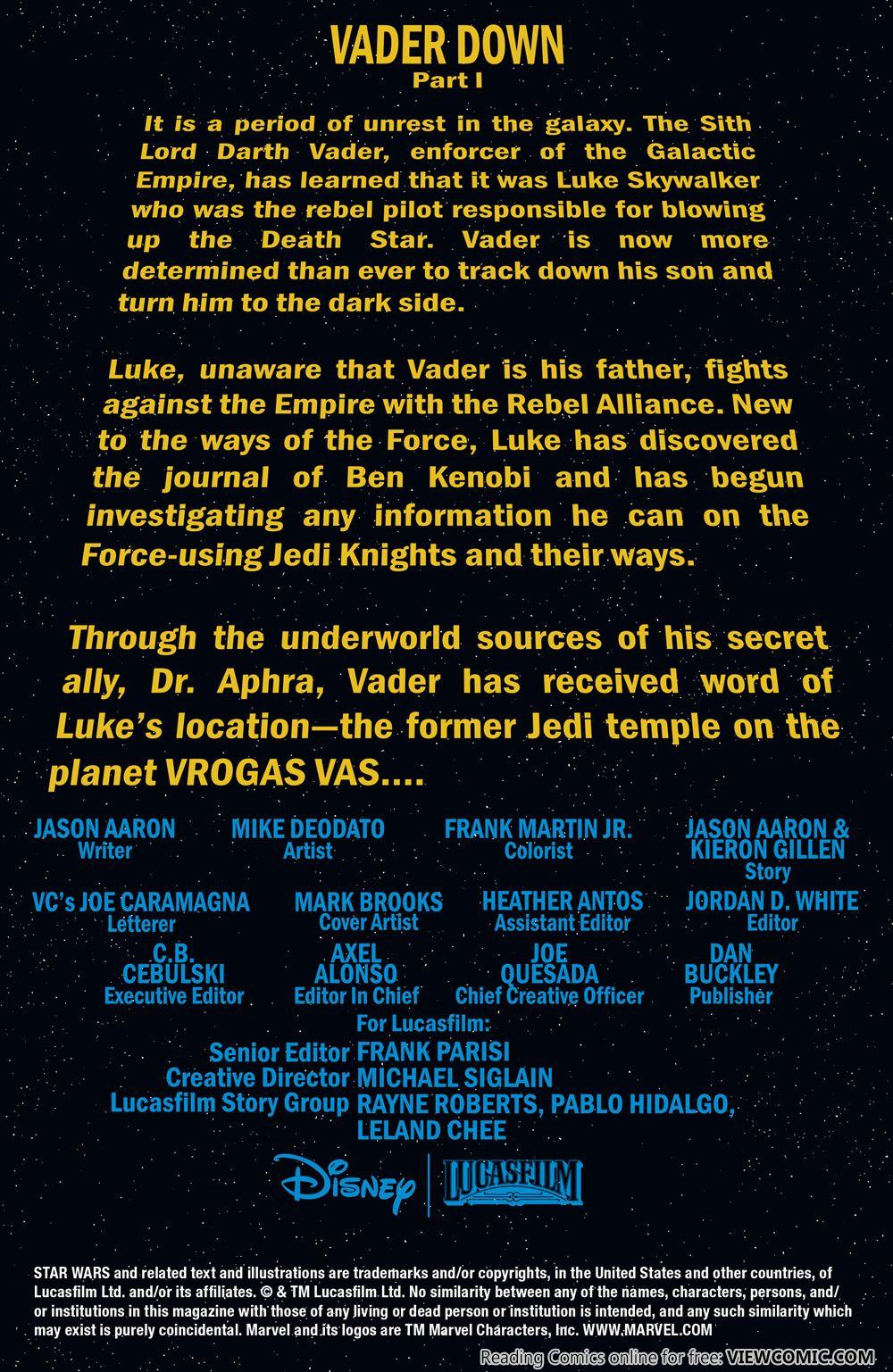 Star Wars – Vader Down 01 (2016) ………… | Viewcomic reading